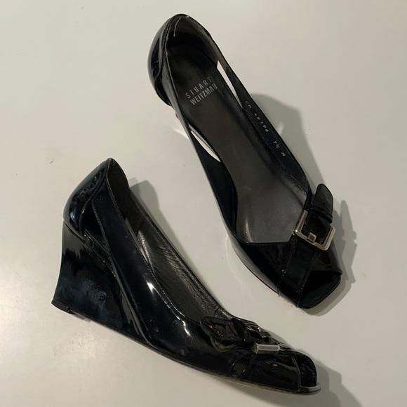 Stuart Weitzman Black Patent Leather Wedges   7.5 EUC